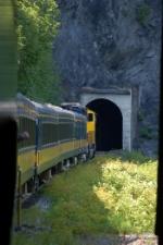"Alaska Railroad (ARR) ""Glacier Discovery"" Passenger Train enters Tunnel"