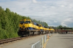 Southbound Alaska Railroad Ballast Train powered by four EMD SD70MAC Locomotives