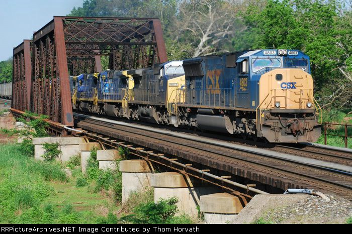 Six diesels on CSX's Q410 bring this load of mixed freight east