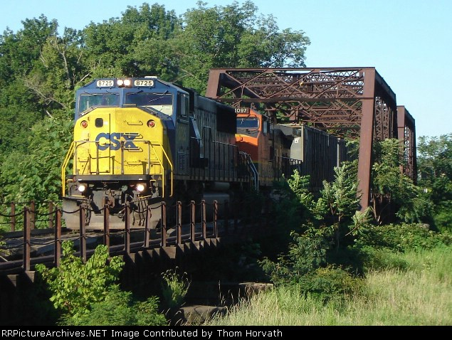 CSX Q300 is crossing the ex-RDG bridge as it works Manville yard