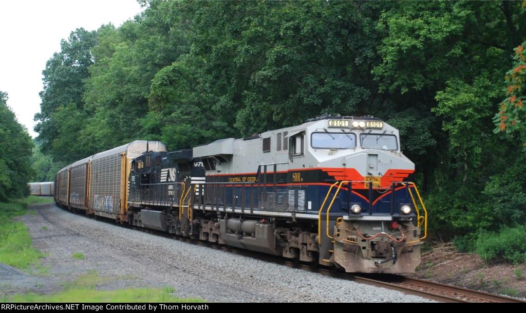 NS 8101 leads loaded autorack train 18N @ LEHL MP 53