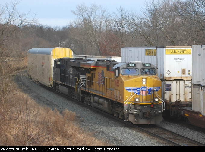 NS 212 is eastbound past NS 21M at MP 52 on the LEHL