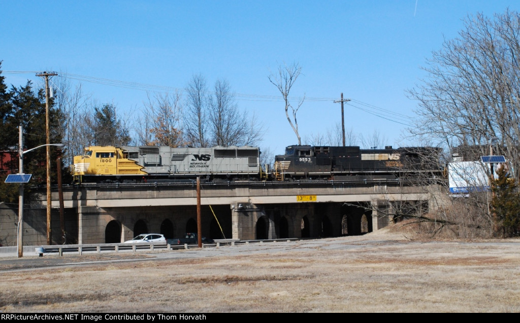 NS 1800 is in a trailing position on 66Z over the Route 206 overpass