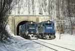 CR Mail 8 with 3268 in the lead passes by a stopped PIOI at MP 64