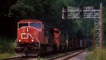Two CN and two NS diesels lead this mixed freight east at LEHL MP 64