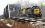 CSX Q300 is eastbound on this snowy Saturday morning