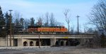 BNSF 3905 leads mixed freight NS 18G across the Route 206 bridge