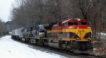 NS 212 has a varied consist of KCS units passing thru the S-Curves