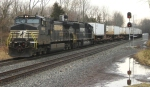 NS 213 takes the passing siding while NS 24V and NS 214 hold the main