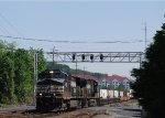 NS 25Z heads west to Chicago through Derry Street's grade crossing