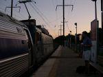 Amtrak Locomotive Number 921 Stops At Metropark Station