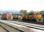 Mix of BNSF power at New Westminster yard (far left unit # unknown)