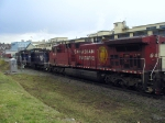 Vintage Southern Railway of BC power units leading modern CP