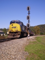 CSX 768 leads a coal train around the wye
