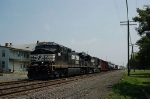 Westbound Norfolk Southern Railway Mixed Freight Train with GE C40-9W No. 9811 and C40-9 No. 8844 providing power