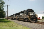Eastbound Norfolk Southern Railway Mixed Freight Train with two EMD and two GE Diesel Locomotives providing power