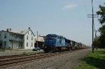 A pair of GE Diesel Locomotives lead a Norfolk Southern Railway Autorack Train
