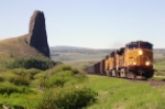 UP coal train passes Finger Rock