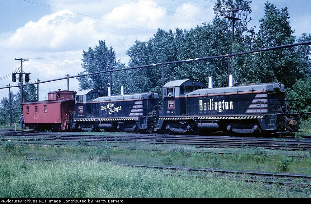 CB&Q 9412B, 9401A, and a Waycar