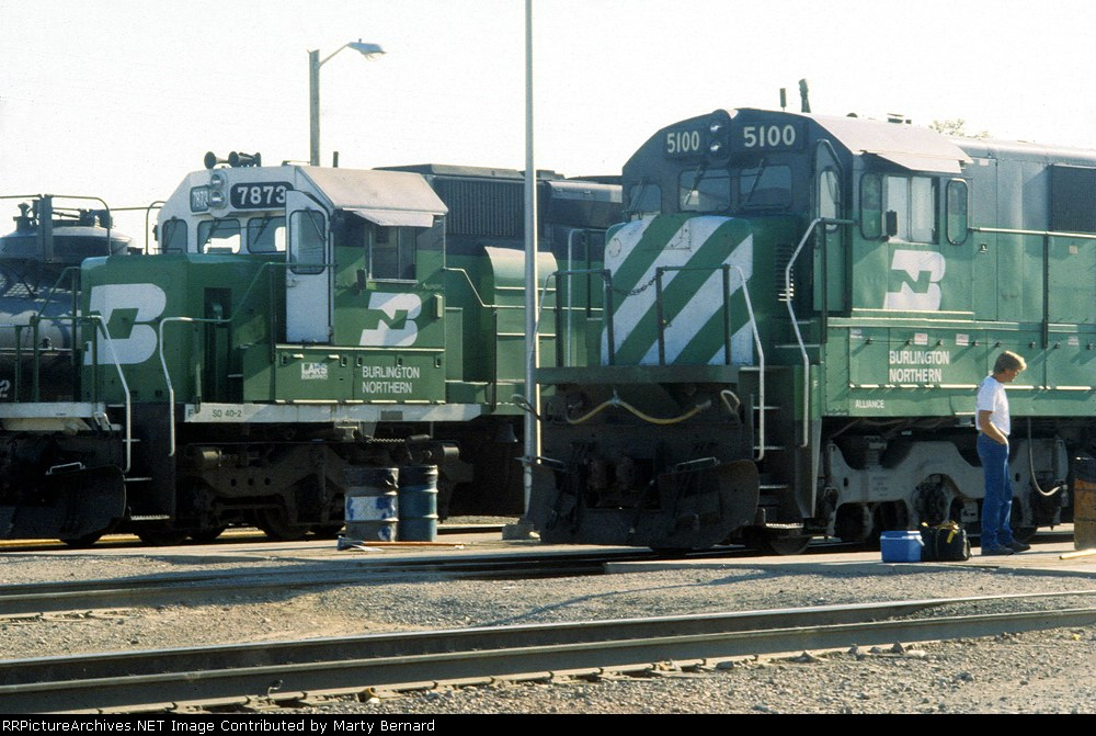 BN 5100 and 7873 at the Hobson Yard Westbound Fuel Rack