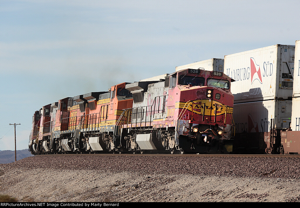 All Ex-ATSF Running Fast With Mixed Freight in the Desert