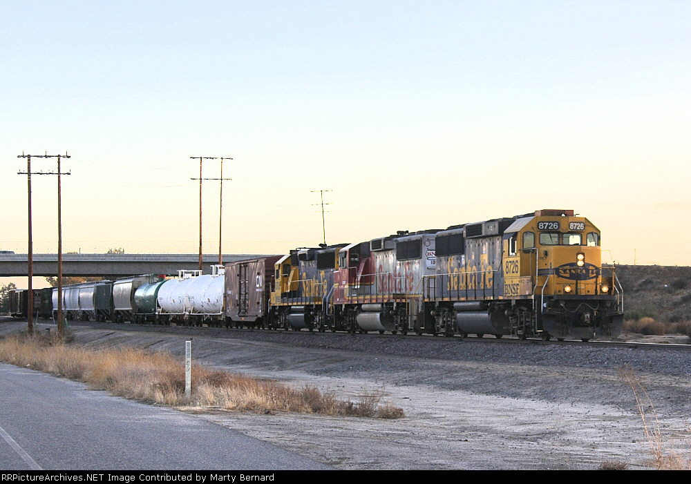 BNSF 8726, 136, and 8705 Northbound Just After Sunset