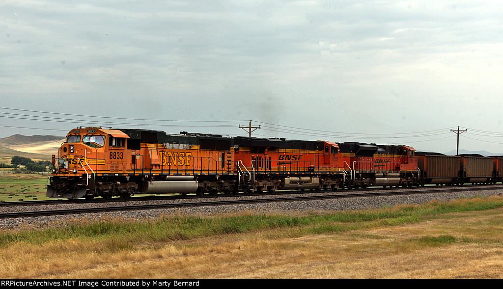 BNSF DPUs 8833, 6355, 9145 0n Eastbound 9639