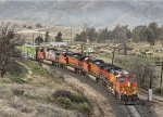 BNSF 4140, 4735, 4657, and 775 About to Enter Tunnel 3 While Climbing to Tehachapi Loop and Then to the Summit at the Town of Tehachapi