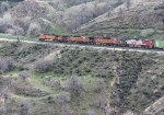BNSF 4140, 4735, 4657, and 775 Between Tunnels 3 and 5 While Climbing to Tehachapi Loop and Then to the Summit at the Town of Tehachapi
