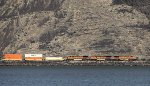 BNSF 4497, 4973, and 4946 With an Intermodal in Wallula Gap of the Columbia River
