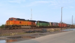 BNSF 5121 and 7819 With KCSM 4539 Wait to Head West from Avondale Yard