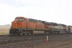 BNSF 5986 and 9808 Haul Coal in the Rain