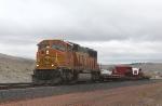 BNSF 8907 With 32-wheel Flat Car Headed for the Mines