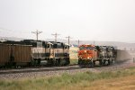 BNSF 9639 and 9463 Westbound Meeting BNSF 5832, 9562, and 9566 Eastbound
