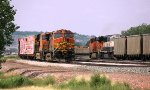 Meet of BNSF 6316 and 9586 WB Empty Coal and BNSF 4993 and 6544 EB Wood