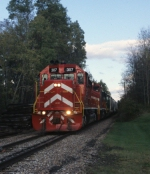 Vermont Railway Train 264 is westbound at Mt. Holly, VT