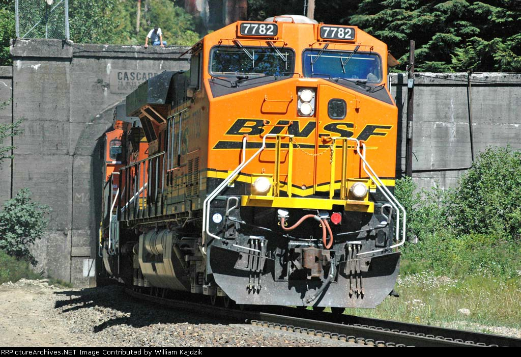 BNSF 7782 exiting West Portal of Cascade Tunnel
