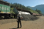 Work train at Cascade Tunnel - dumping a load