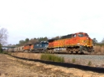 BNSF 5187 comes by the site of a new 4-lane highway overpass