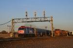 Metra 193 overtakes a stopped Santa Fe 943 at Aurora.