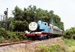 Thomas the Tank Engine passing an old PRSL signal.
