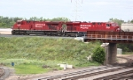 CP 8757 and 8838 Crossing Over Northtown Yard