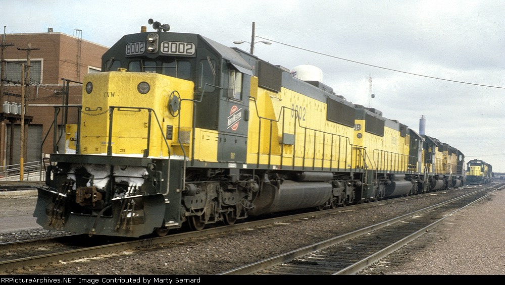 C&NW 8002 and 8008 Next to Proviso Yards Engine House