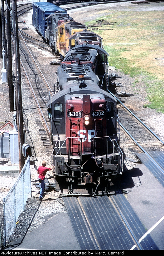 The Brakeman Hops On SP 4302 After Walking the Train Through All the Switches.