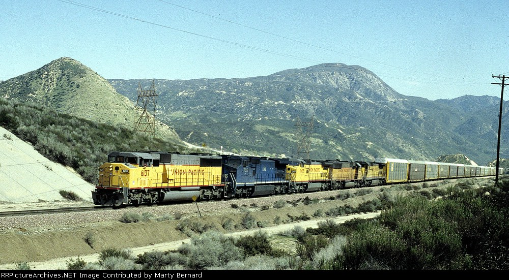 UP 6137, LMSX 705, UP 9405 and a Couple More UPs Pull Autoracks