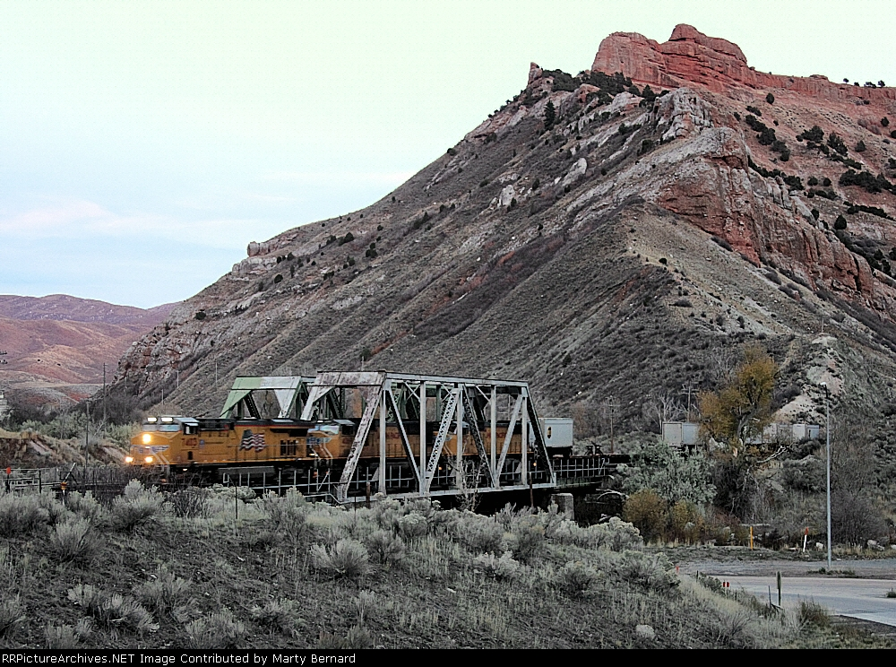 UP 7403, 4069, and 4362 After Sunset