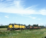 C&NW SD40-2s 6863 and 6811 are Southbound