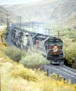 SP 7509, 8513, BN 9247, and Three Tunnel Motors Lead a SB Coal Unit Train