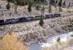 SP 7509 and 8513, BN 9247, SP 9400, 6848, and 8350 With SB Coal Unit Train Along the Arkansas River
