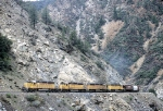 Four UP SD40-2s Working the Canyon